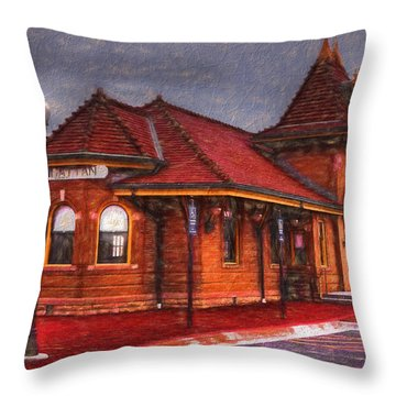 Manhattan Kansas Train Depot Throw Pillow