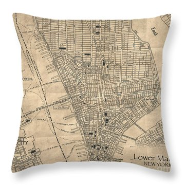 Manhattan New York Antique Vintage City Map Throw Pillow