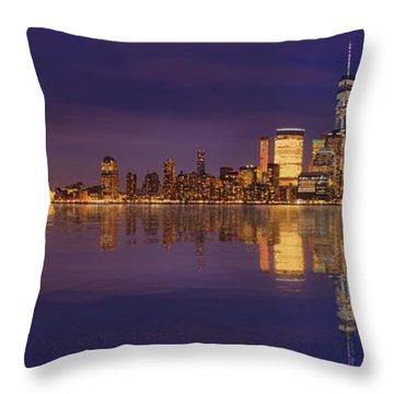 Manhattan, New York At Dusk Panoramic View Throw Pillow