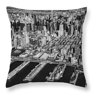 Manhattan New York City Aerial View Bw Throw Pillow