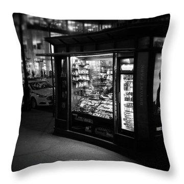 Manhattan Newsstand, 42nd Street Throw Pillow