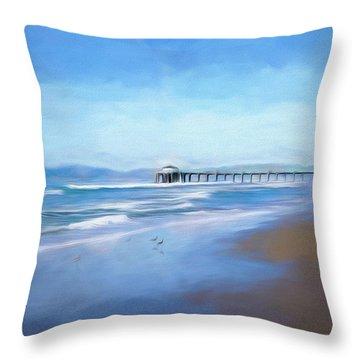 Throw Pillow featuring the photograph Manhattan Pier Blue Art by Michael Hope