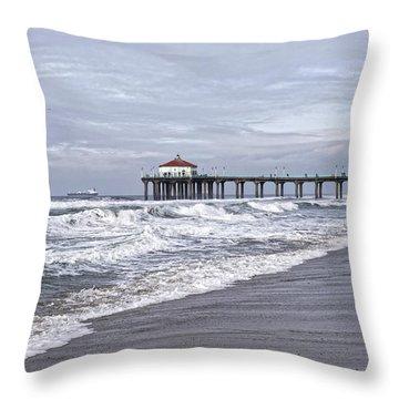 Manhattan Pier Surf And Waves Throw Pillow