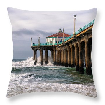 Throw Pillow featuring the photograph Manhattan Pier Surf by Michael Hope