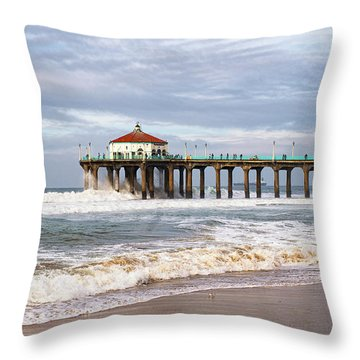 Manhattan Pier With Two Tankers Throw Pillow