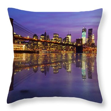 Throw Pillow featuring the photograph Manhattan Reflection by Mircea Costina Photography