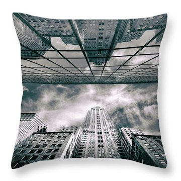Throw Pillow featuring the photograph Manhattan Reflections by Jessica Jenney