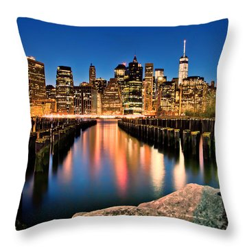 Manhattan Skyline At Dusk Throw Pillow