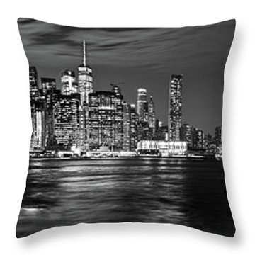 Manhattan Skyline At Dusk From Broklyn Bridge Park In Black And  Throw Pillow