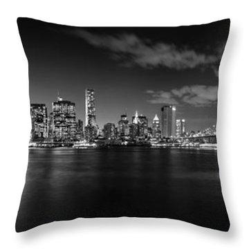 Manhattan Skyline At Night Throw Pillow