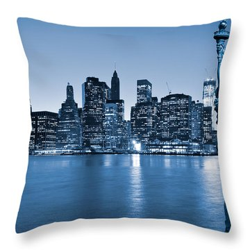 Manhattan Skyline Throw Pillow by Luciano Mortula