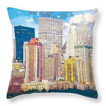 Manhattan Skyline New York City Throw Pillow