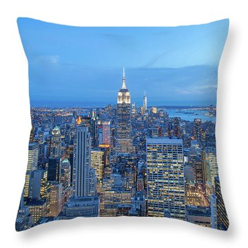 Manhattan Skyline New York City Throw Pillow