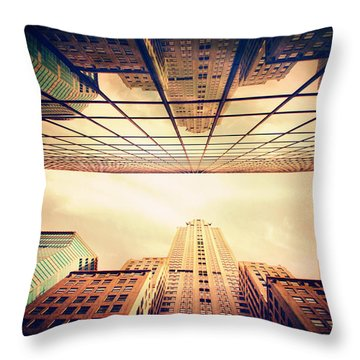 Throw Pillow featuring the photograph Manhattan Skyline Reflections by Jessica Jenney