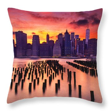Manhattan Sunset Throw Pillow by Rima Biswas