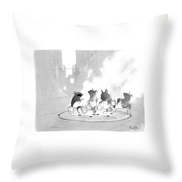 Manhole Sauna Throw Pillow