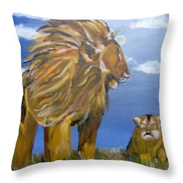 Throw Pillow featuring the painting Manhood Training by Saundra Johnson