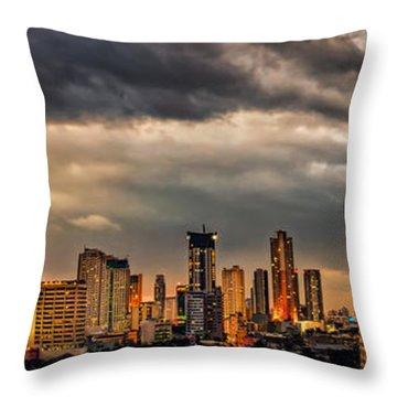 Manila Cityscape Throw Pillow