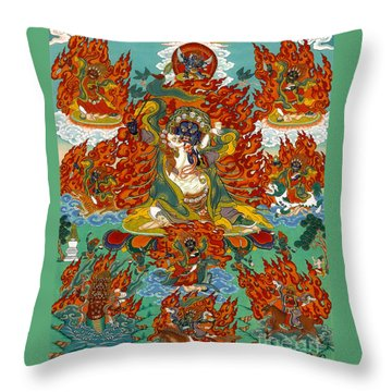 Maning Mahakala With Retinue Throw Pillow