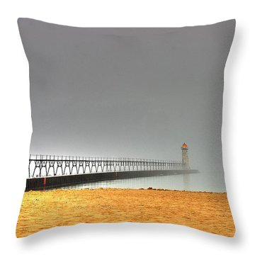 Manistee Light And Fog Throw Pillow