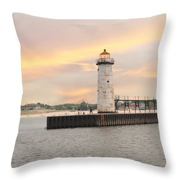 Manistee North Pierhead Lighthouse Throw Pillow