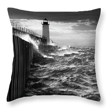 Throw Pillow featuring the photograph Manistee Pierhead Lighthouse by Fran Riley