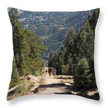 Manitou Springs Pikes Peak Incline Throw Pillow