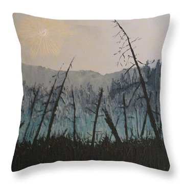 Throw Pillow featuring the painting Manitoulin Beaver Meadow by Ian  MacDonald