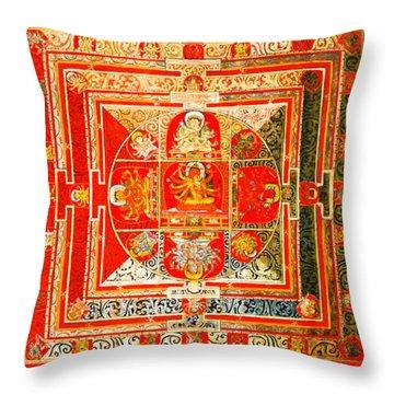 Manjuvara Thangka Mandala Throw Pillow