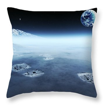 Mankind Exploring Space Throw Pillow