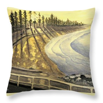Manly Beach Sunset Throw Pillow by Leanne Seymour