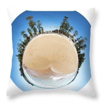 Throw Pillow featuring the photograph Manly Beach Tiny Planet by Chris Cousins