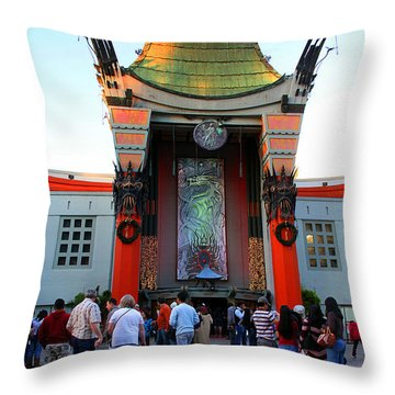 Mann's Chinese Theatre Hollywood California Throw Pillow by Wernher Krutein