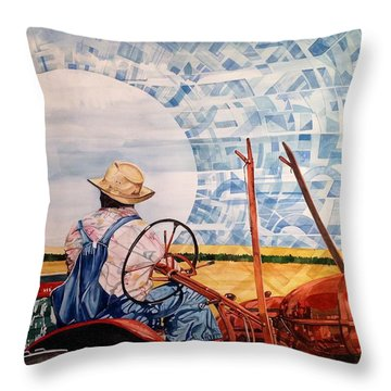 Manny During Wheat Harvest Throw Pillow by Lance Wurst