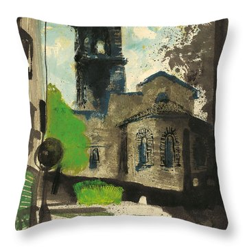Throw Pillow featuring the painting Manosque  Provence Notre Dame De Romigier Print by Martin Stankewitz