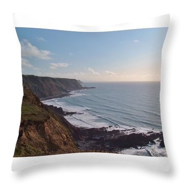 Mansley Cliff And Gull Rock From Longpeak Throw Pillow