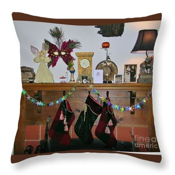 Mantel With Mask Throw Pillow