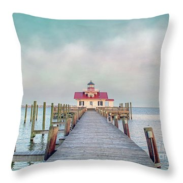 Manteo Lighthouse Throw Pillow by Marion Johnson