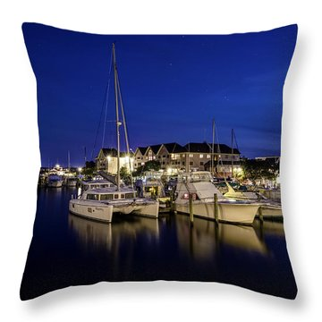 Manteo Waterfront Marina At Night Throw Pillow
