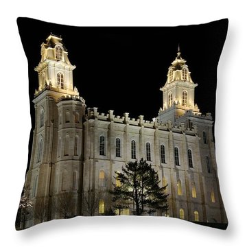 Manti Temple Night Throw Pillow