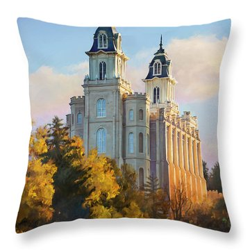 Manti Temple Tall Throw Pillow by Rob Corsetti