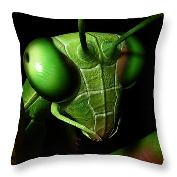 Mantis Head Throw Pillow