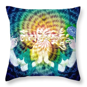 Mantra Of Compassion Throw Pillow by Robby Donaghey