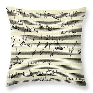 Manuscript Of The Magic Flute By Wolfgang Amadeus Mozart  Throw Pillow