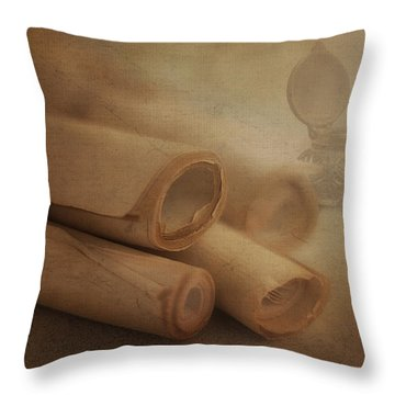 Manuscript Scrolls Still Life Throw Pillow