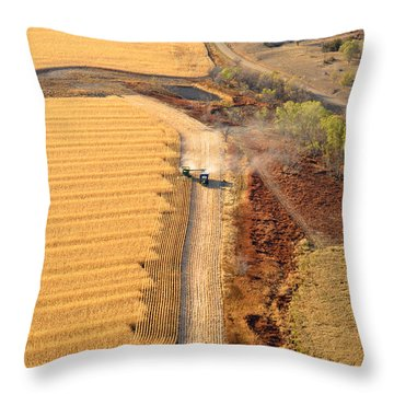 Many Acres To Harvest Throw Pillow