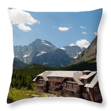 Many Glacier Hotel Throw Pillow by Bruce Gourley