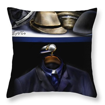 Many Hats One Collar Throw Pillow by Reggie Duffie