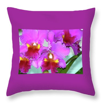 Many Purple Orchids Throw Pillow
