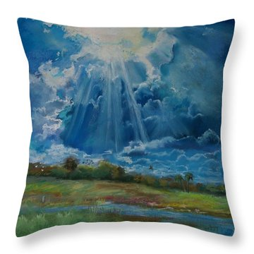 Throw Pillow featuring the pastel Many The Miles by Robin Maria Pedrero